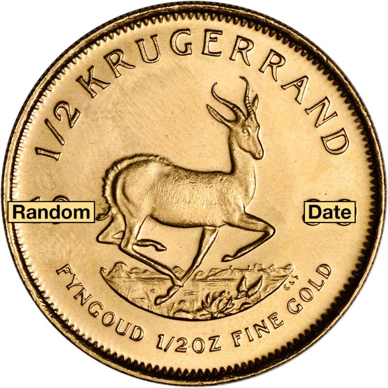 South Africa Gold Krugerrand - 1/2 Oz - Bu - Random Date