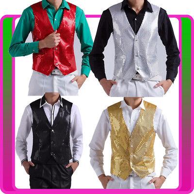 Mens Sequin Waistcoat 20s Disco Dance Magician Show Costume Ladies Jazz - Lady Magician Costume