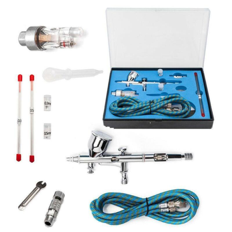 Dual Action Air Brush Airbrush Kit Spray Gun compress Paint Art Set 15-50PSI