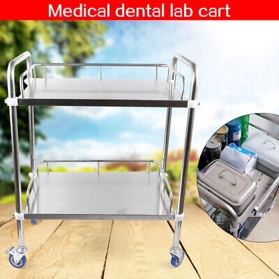 2 Layers Laboratory Cart Labcaregiving Furniture Stainless Steel Trolley