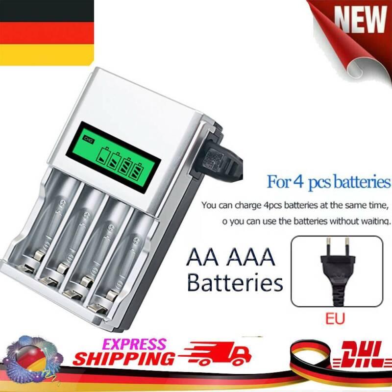 4 Akku Ladegerät Charger Batterie Aufladegerät AA AAA Schnelladegerät