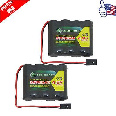 GeiLienergy 2x 4.8V 2000mAh NiMH RX Receiver Battery Pack RC Futaba Hitec JR 2 Pack 2000mah Battery