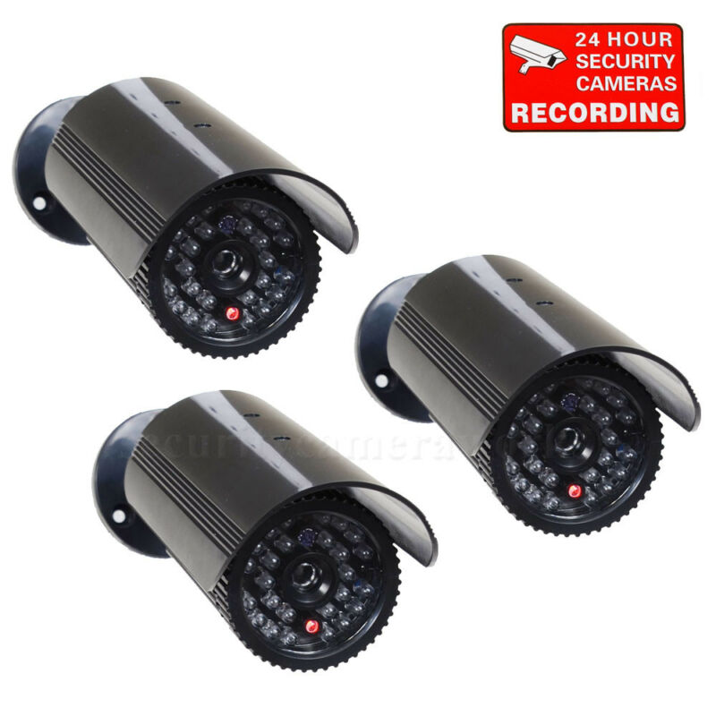 3x Dummy Security Camera Fake Infrared LEDs Flashing Light CCTV Surveillance bff