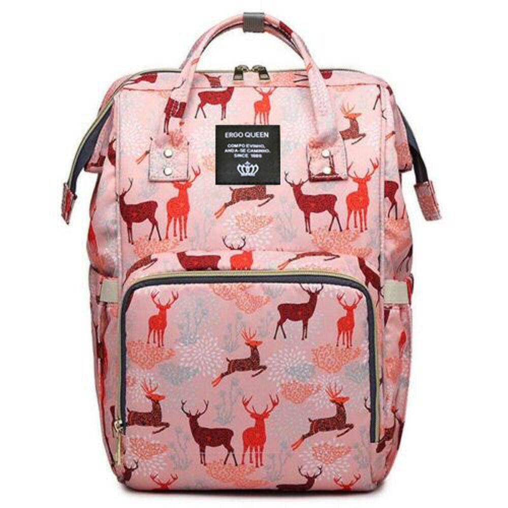 Ergo Diaper Bag Backpack Mummy Maternity Nappy Large Capacity Baby Bag Travel  Pink Sika Deer