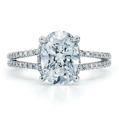 2.10 CTW 18k White Gold Oval & Round Cut Diamond Engagement Ring GIA Certified