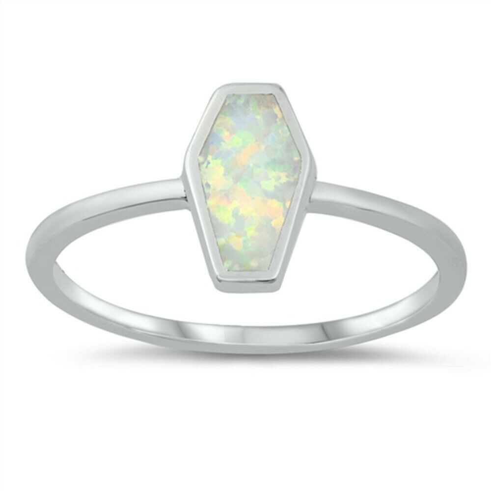 White Opal Coffin Hexagon Shape .925 Sterling Silver Ring Si