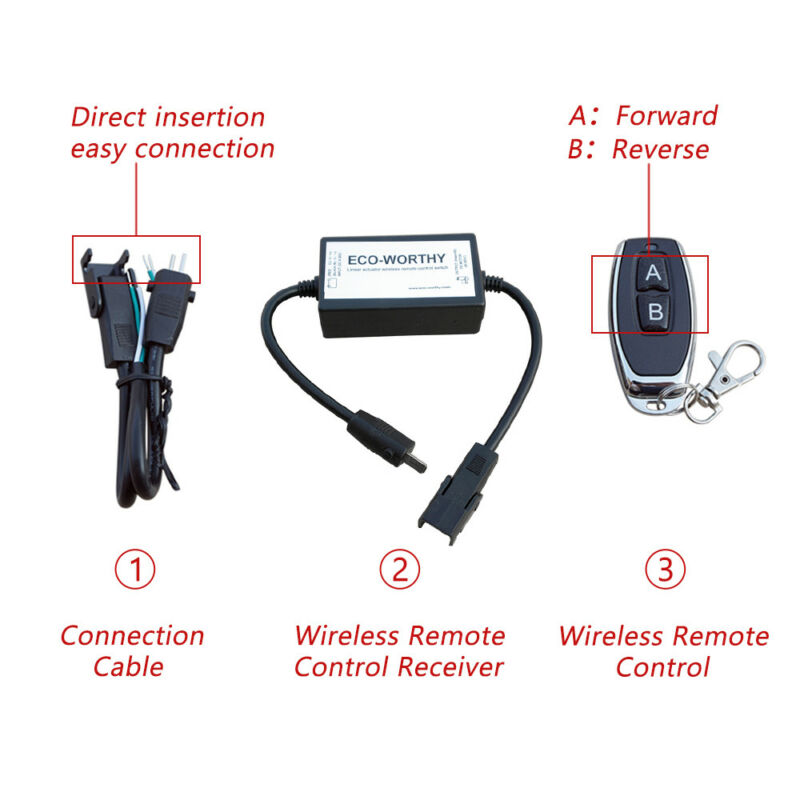 Wireless 8-30V Linear Actuator Remote Control Switch Electric Motor DC 12V/24V