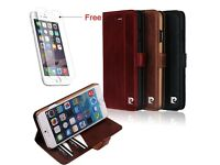 Pierre Cardin real Leather Wallet case for iPhone 6 and iPhone 6Plus with ID card Holder/black/brown
