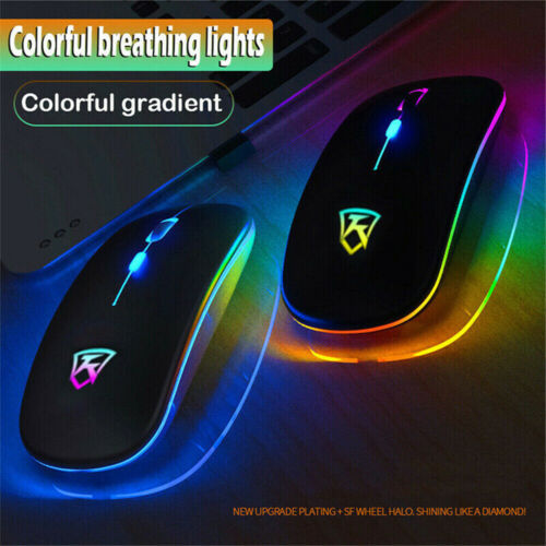 Slim Wireless Mouse Silent 2.4GHz USB Mice Rechargeable RGB For PC Laptop