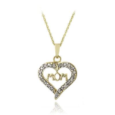 18K Gold over 925 Silver 1/10ct Diamond Mom Open Heart Necklace, 18