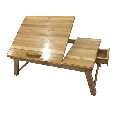 Lap Desk Wood Folding Tray Table Drawer Breakfast Bed Food Laptop TV Notebook US Lap Desk Table