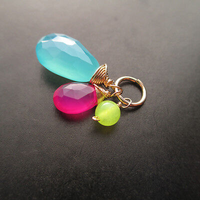 Sea Blue, Hot Pink Lime Green  Chalcedony Gemstone Interchangeable Pendant Hot Pink Lime Green