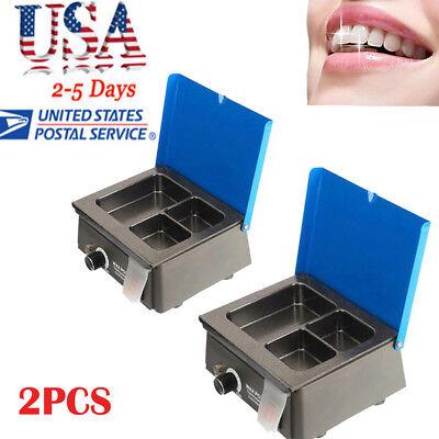 2pcs Dental 3 Well Analog Wax Melting Dipping Pot Heater Melter Lab Equipment