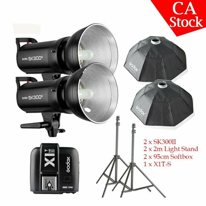 US Godox SK300II 2x300W 2.4G Two Flash Studio Lighting Kit +X1T Trigger For Sony