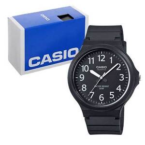 Casio Men's Quartz Watch with Black Dial Analogue Display and Black Resin Strap