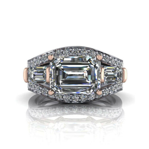 Emerald Cut Diamond Wedding Special Ring Solid White Gold 2.50 Ct