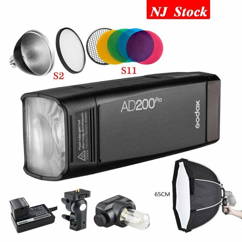 Godox AD200Pro Dual Head Camera Pocket Flash TTL HSS 65cm Softbox For Fuji Lumix