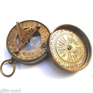 Brass SUNDIAL COMPASS - Pirate Nautical Antique SUN DIAL NAVIGATION London 1885