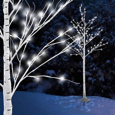 Design Außen 154x LEDs 6 Watt Steh Leuchte Dekoration Birke Baum Garten Balkon