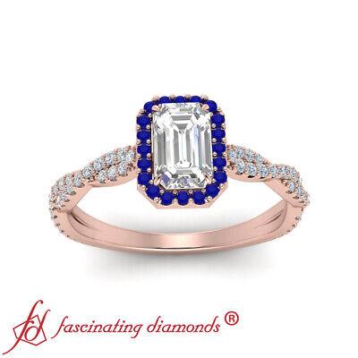 3/4 Carat Emerald Cut Diamond And Sapphire Gemstone Twisted Halo Engagement Ring 2