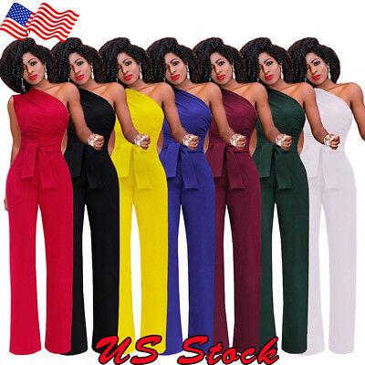 US Women Jumpsuit Romper Off-Shoulder Playsuit Clubwear Bodycon  Trousers - Womens Clubwear