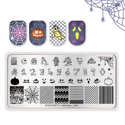 BORN PRETTY Nail Art Stamping Plates Pumpkin Bone Stripe DIY Halloween Day L004 - Diy Halloween Nail Art