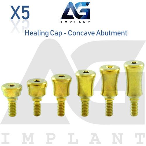 5 Standard Healing Cap Concave Abutment Titanium Dental Implant Internal Hex