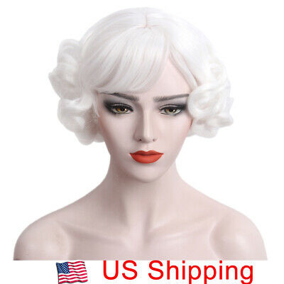 White Wig for Women Cosplay Mrs Claus Costume Short Curly Layered Hair Lolita