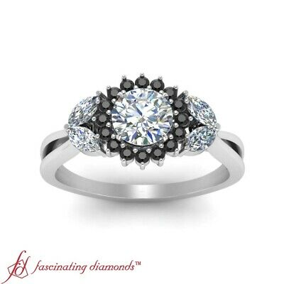 Round Cut White And Black Diamond Halo Engagement Ring In 18K White Gold 1.15 Ct 1