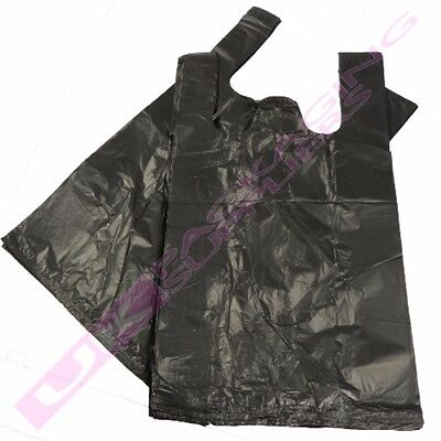 100 x BLACK PLASTIC POLYTHENE VEST CARRIER BAGS 11x17x21