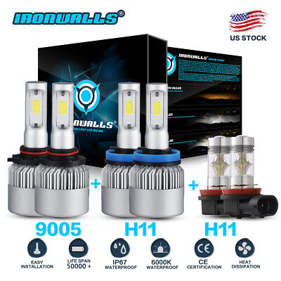 Halogen Replacement Fog Light Bulb - 6x Combo H11 9005 H11 LED Headlight Conversion Kit High Low Beam Fog Light 6000K