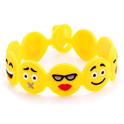 2Pcs Wristband Emoji Emotion Face Various Expression Wirst Band Bracelet