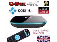 Q-Box Android 5.1 Quad Core TV Box KODI 2GB+16GB 5Ghz Dual WI-FI
