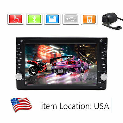 GPS Navigation HD Double 2DIN Car Stereo DVD Player Bluetooth MP3 TV+Camera OY