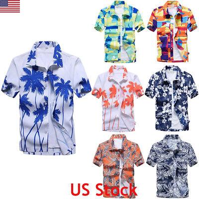 Mens Hawaiian Stag Beach Hawaii Aloha Party Summer Holiday Fancy Shirt Plus Size