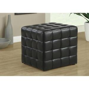 New Monarch Specialties Leather-Look Ottoman, Black
