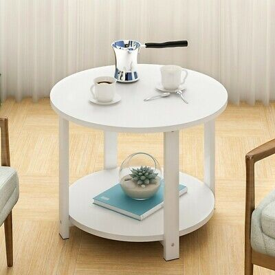 2-Tier Round End Coffee Table Side Accent Table Wood Legs Living Room Furniture