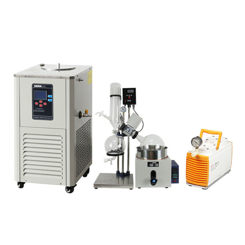 5L Rotary Evaporator Complete Turnkey Package w/PTFE Diaphragm Pump & Chiller