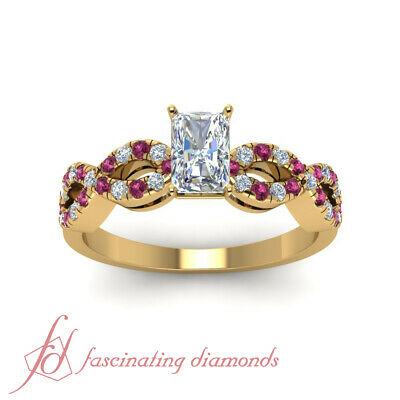 1.25 Carat Radiant Cut Modern Diamond Rings With Round Pink Sapphire Accents GIA 1