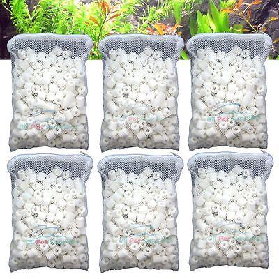 6 lbs Bio Ceramic Rings in 6 Filter Media Bags for Aquarium Fish Canister Filter