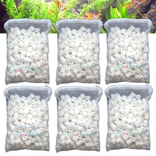 Aquarium Bio Ceramic Rings 6 lbs in 6 Filter Media Bags for Fish Canister Filter
