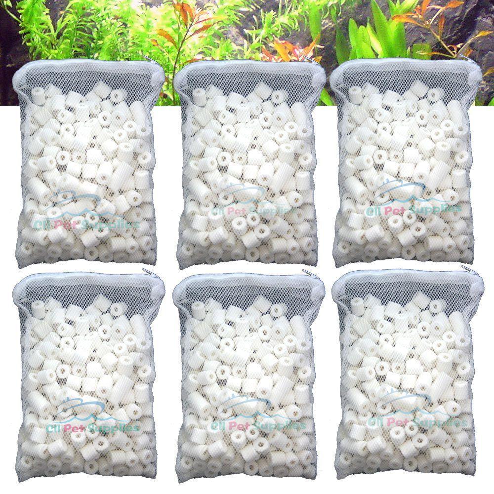 6 lbs Bio Ceramic Rings in 6 Filter Media Bags for Aquarium