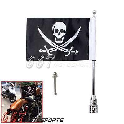 Motorcycle Rear Flag Pole Bike Luggage Rack Mount American Skull Flag For Harley
