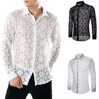 Men's Summer Autumn Casual Lace Shirts Full Sleeve T Shirt Hollow Tops Blouse UK - Full Sleeve Top