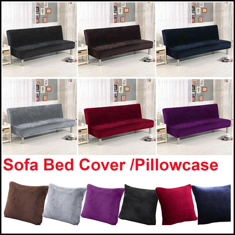 Stretch Armless Plush Sofa Cover Full Folding Sofa Bed Cover