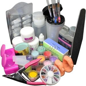 Full-Acrylic-Liquid-Powder-French-Nail-Art-Tip-Pump-File-Clipper-Kit-Set-1643