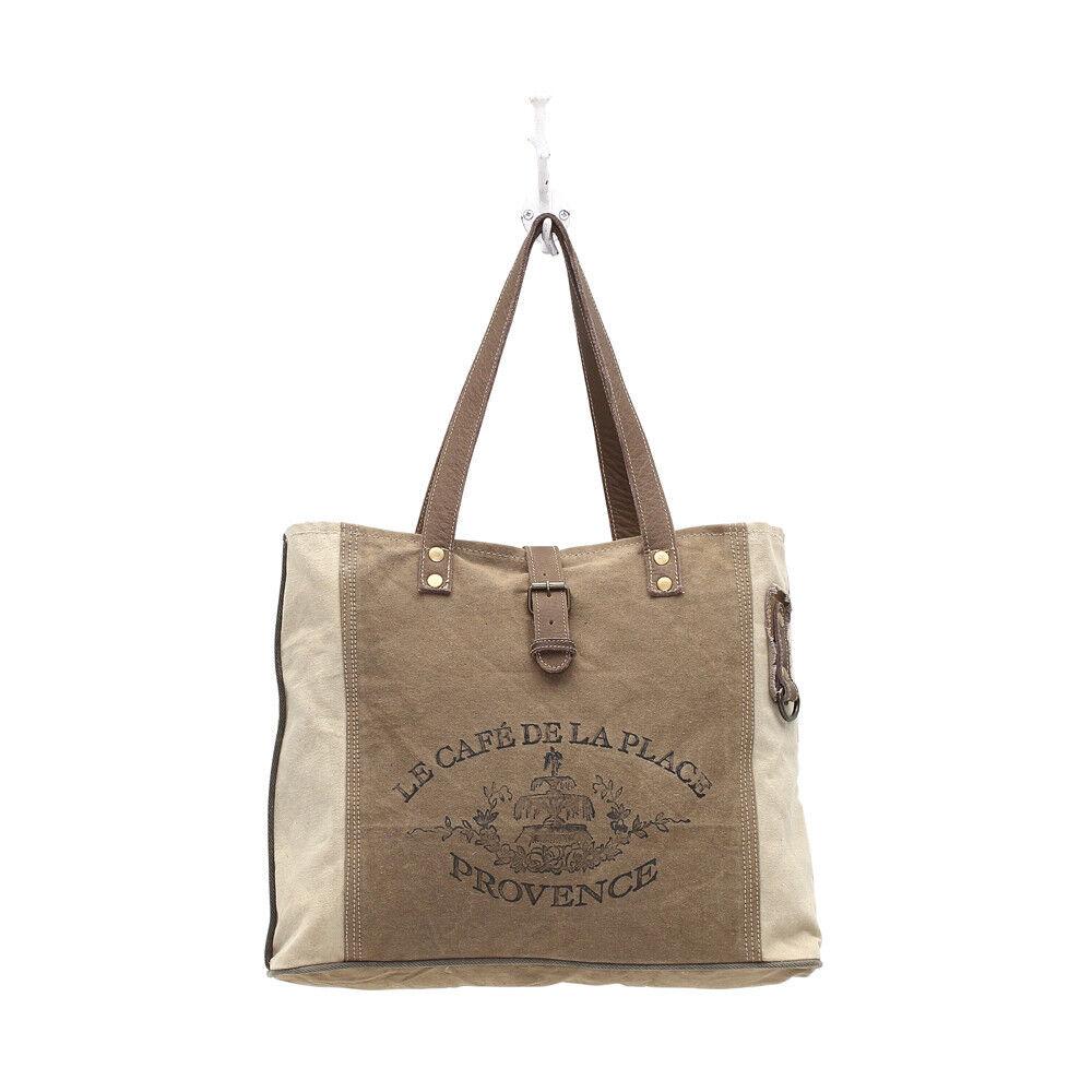 Provence Canvas Tote Bag-Zip Pocket on Back-Lined-3 Inside P