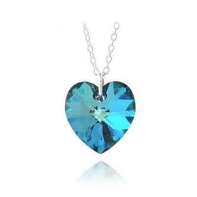 Bermuda Blue Swarovski Elements Heart Necklace in Sterling Silver