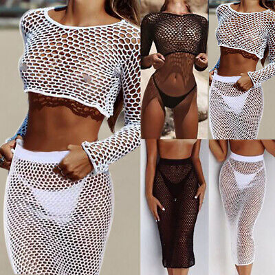 Sheer Womens Bikini (Womens  Fishnet Mesh Swimwear Summer Beach Dress Sheer Bikini Cover Up)