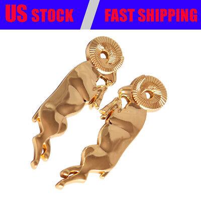Pair Gold Leaping Ram L&R Fender Emblems for Ram 1500 2500 3500 Bighorn Longhorn